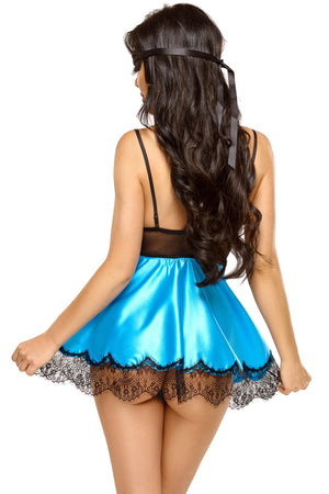 Beauty Night Eve Turquoise Satin Babydoll with Eye Mask 3pc Lingerie set Size S - XL Women's