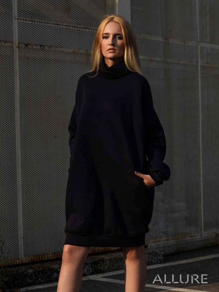 Turtleneck Futer Short Dress