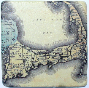 Antique Cape Cod Map Coaster