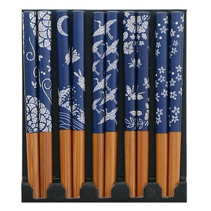Set/5 Blue & White Chopsticks