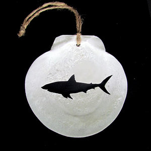 Great White Shark Scallop Shell Ornament