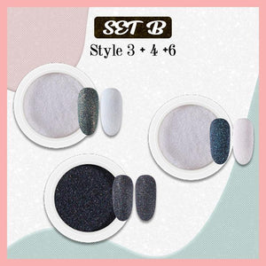 5D Velvet Sugar Nail Powder titeam Set B (Style 3 + 4 + 6)
