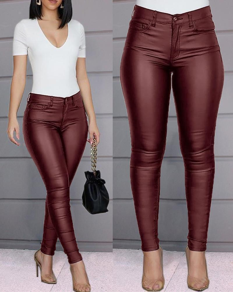 Extra-Stretchy PU Leather Legging Pants Beauty & Health summertwinkle Red S