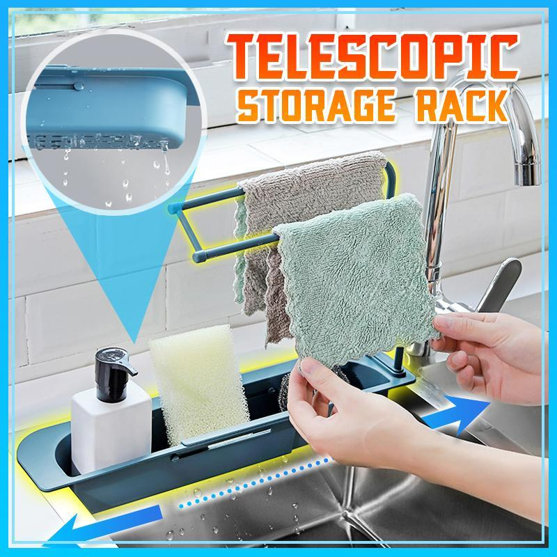 Telescopic Sink Storage Rack Kitchen MC Blue