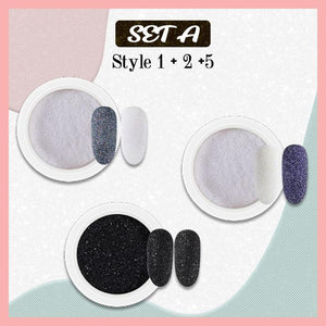 5D Velvet Sugar Nail Powder titeam Set A (Style 1 + 2 +5)