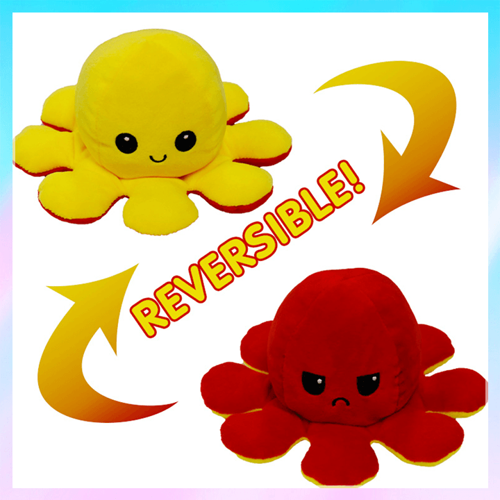2 Side Flip Octopus Toy summertwinkle yellow-red