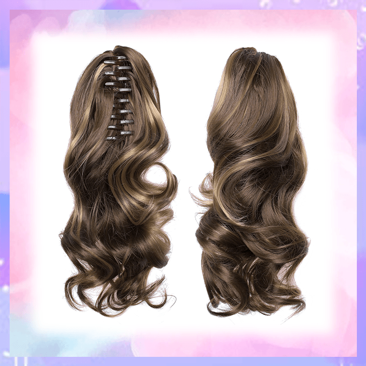 Clip-in Wavy Ponytail summertwinkle brown highlight