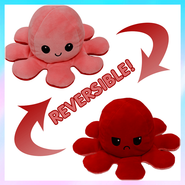 2 Side Flip Octopus Toy summertwinkle pink-red