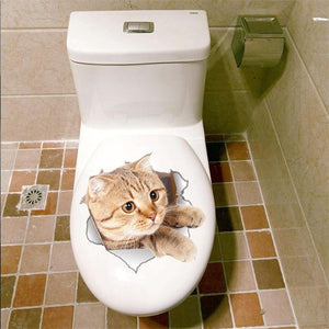 3D Vivid Cat Bathroom Toilet Sticker summertwinkle B
