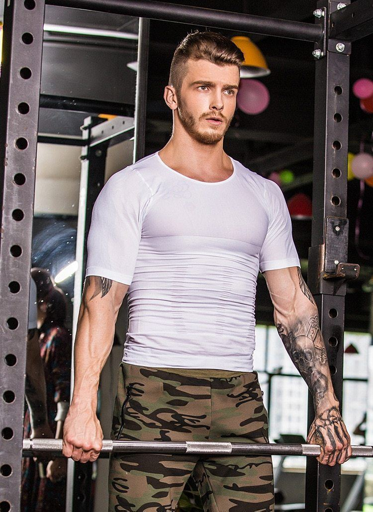 Compression Body Building Shirt Men Sports & Outdoors summertwinkle XL White
