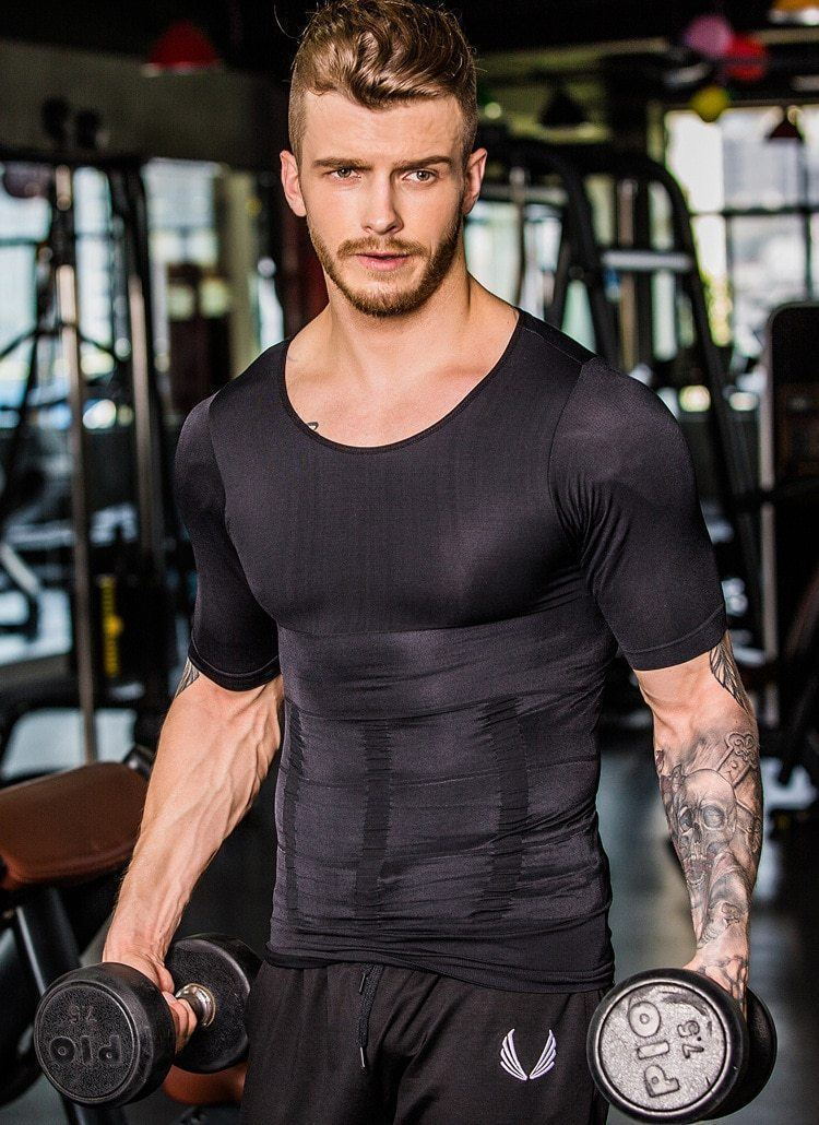 Compression Body Building Shirt Men Sports & Outdoors summertwinkle M Black