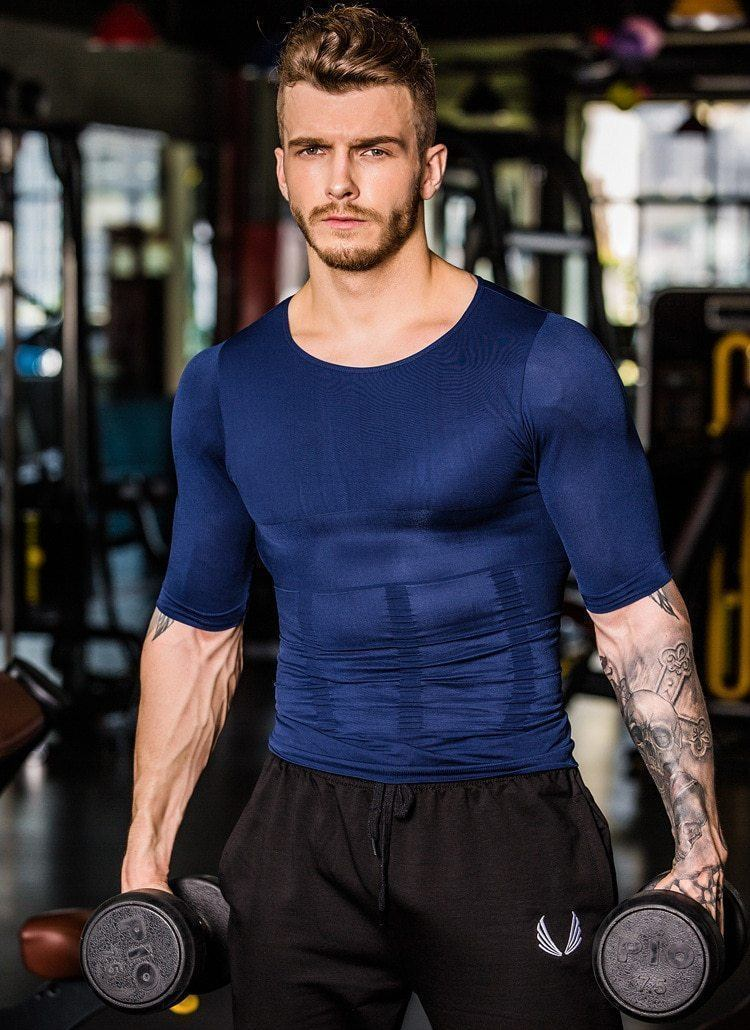 Compression Body Building Shirt Men Sports & Outdoors summertwinkle L Blue