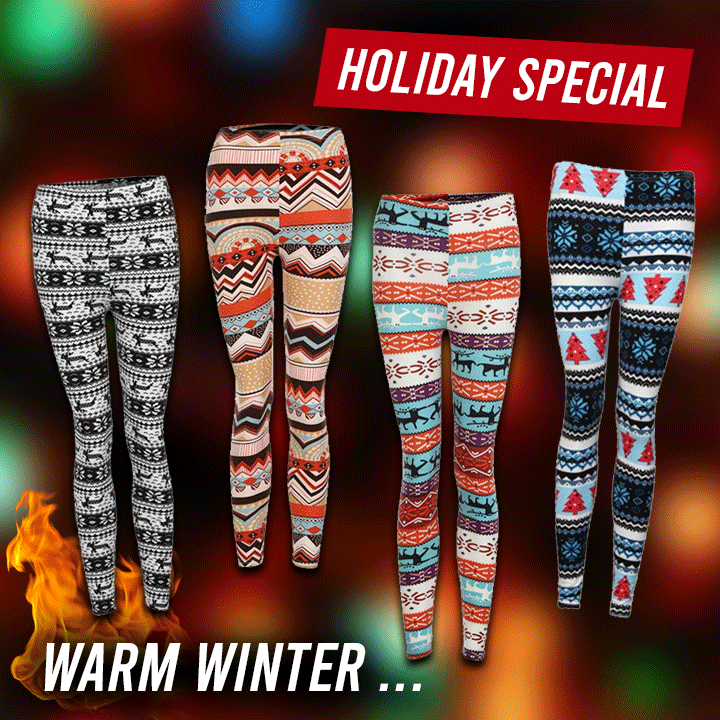 Holiday Print Warm Leggings summertwinkle