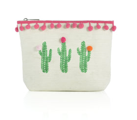 Cactus Print Zip Pouch in Natural Color