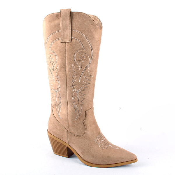 Artificial Leather Knee-High Western Pointed Toe Boots in Beige or Black