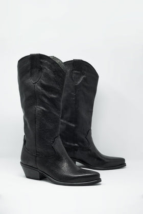 Genuine Leather Black Italian High Boots