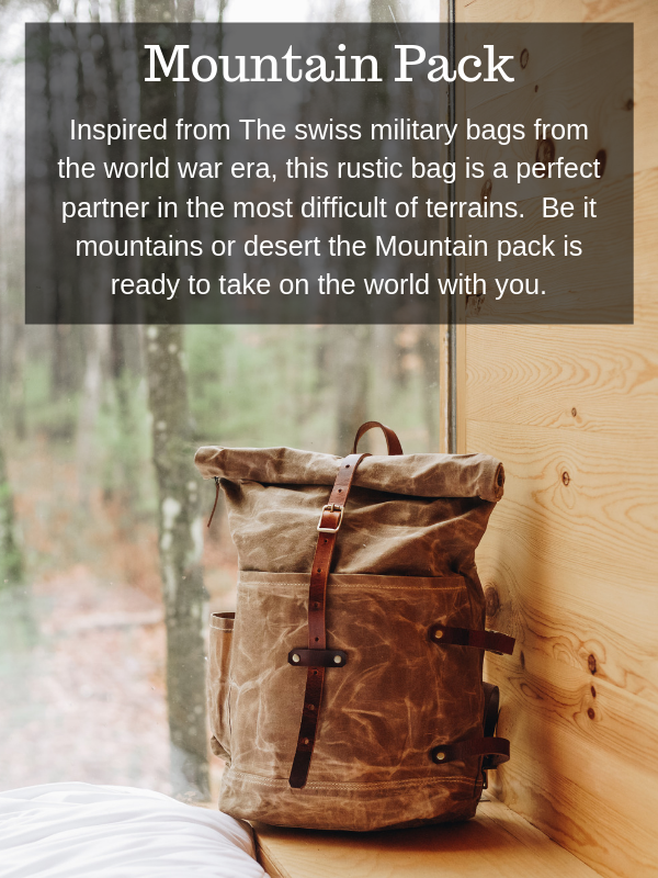 Hand-Waxed Cotton Canvas Mountain Pack in Deep Black