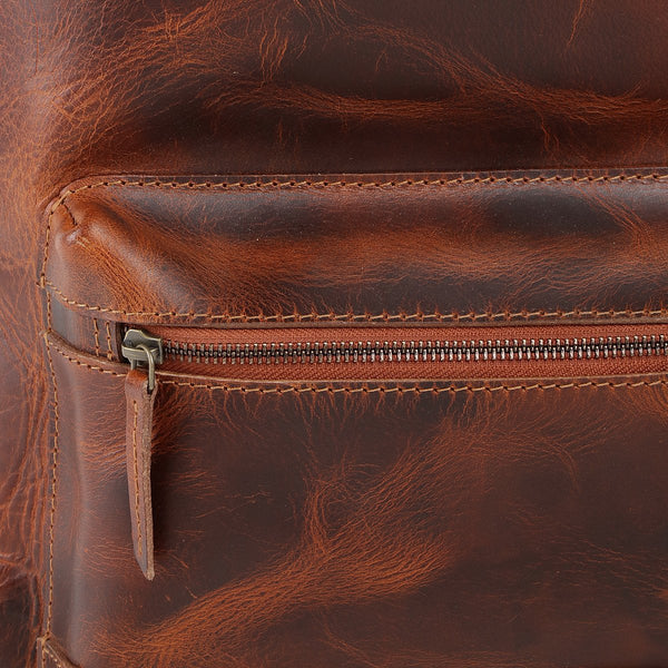 Hand-Waxed Leather Laptop Pack in Tobacco