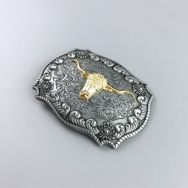 JEAN'S FRIEND New Original Western Cowboy Rodeo Bull Double Color Heavy Metal Belt Buckle Gurtelschnalle Boucle De Ceinture