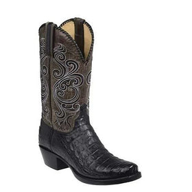 Artificial Leather Knee High Pointed Toe Western Boots with Fretwork in Three Colors