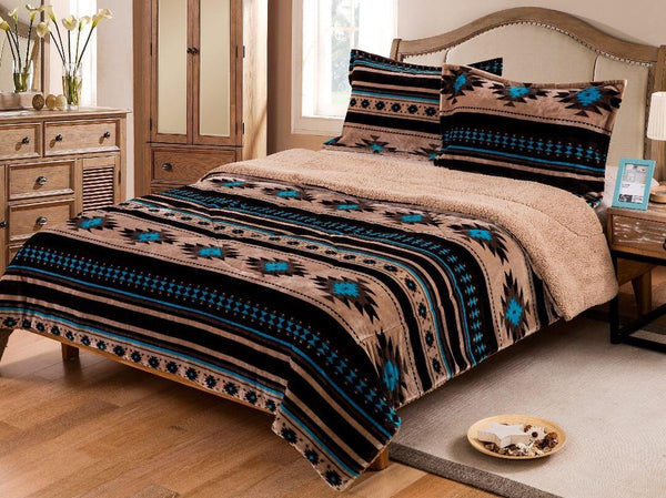 Southwest Tan Turquoise Fleece Blanket Three Piece Set