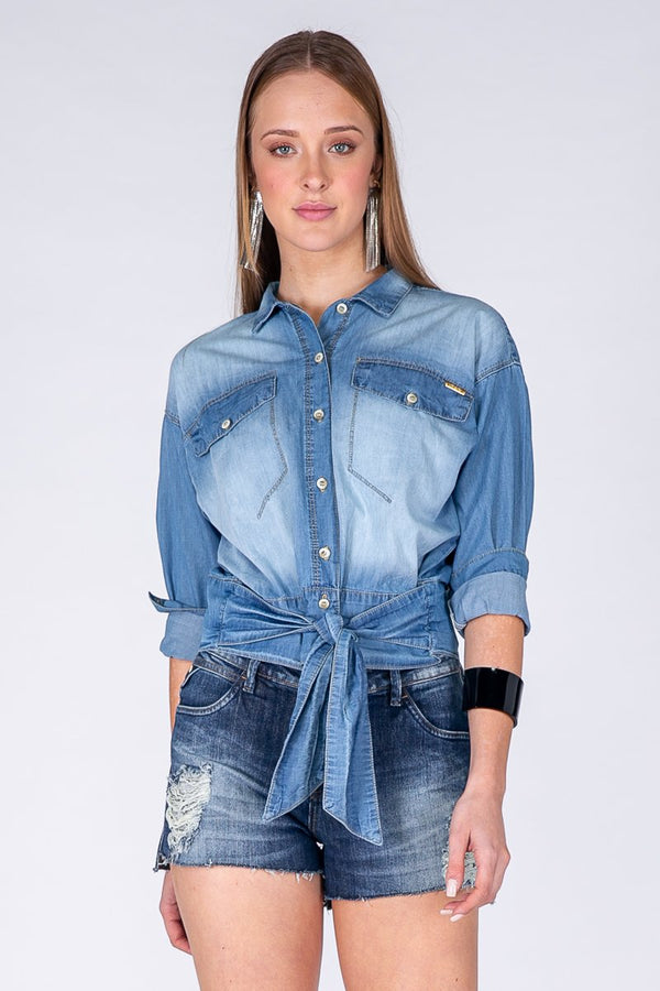Long-Sleeve Denim Shirt with Lace Detail