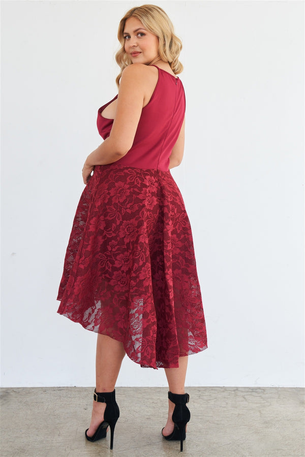 Square Neckline Floral Lace Dress in Cabernet
