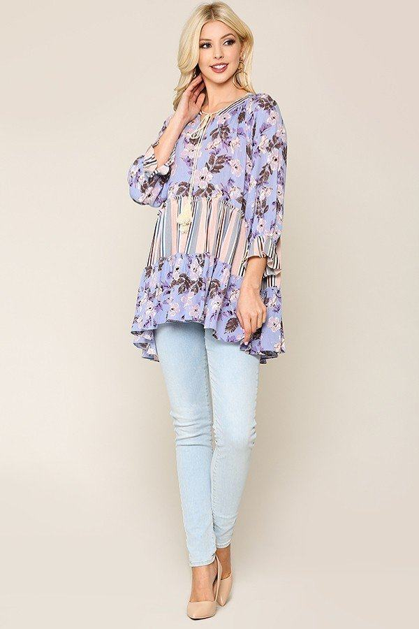 Mix And Match Tassel Tie Top in Lilac