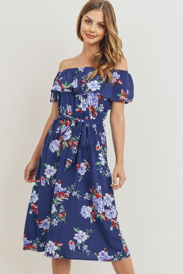 Off The Shoulder Printed Midi Dress in Navy