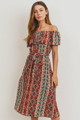 Off The Shoulder Printed Midi Dress in Mauve