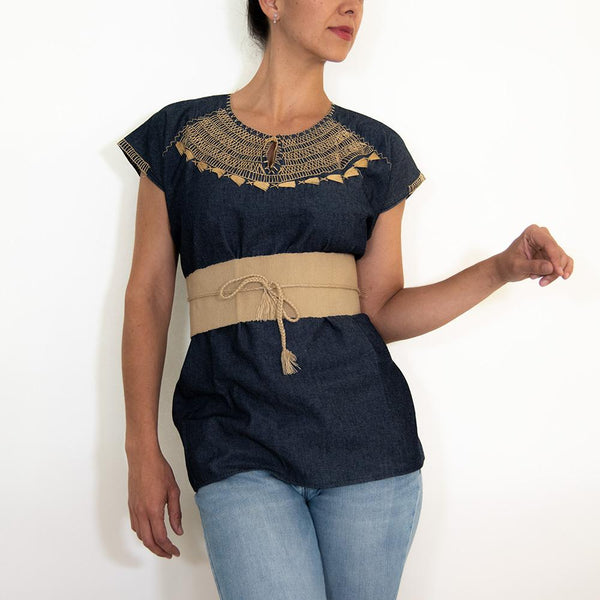 Handmade Denim Huipil Blouse with Cross Stitch