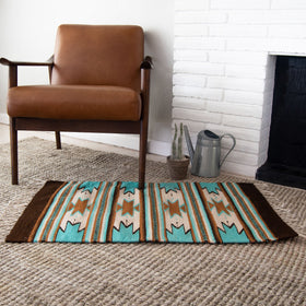 Handmade Oaxaca Wool Rug with Diamond Pattern in Blue