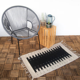 Handmade Oaxaca Wool Rug with Saw Pattern