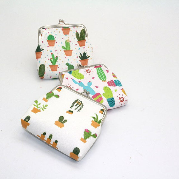 Coin Purse with Cactus Paintings in Three Patterns