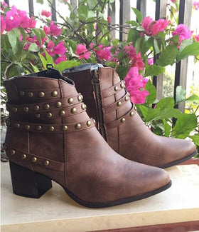 Artificial Leather Boots With Rivet Decorations