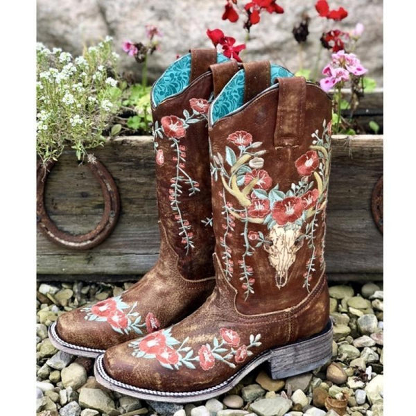 Artificial Leather Mid-Calf Boots with Embroidered Floral Print in Grey, Black, or Brown