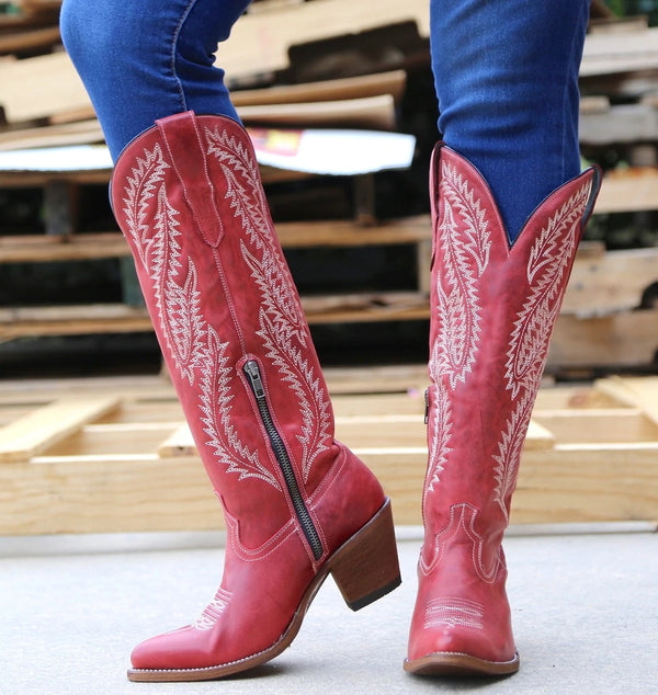 Artificial Leather Knee-High Boots in Red or Black with Embroidered Pattern