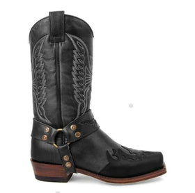 Artificial Leather Mid-Calf Boots in Four Colors with Wing Pattern