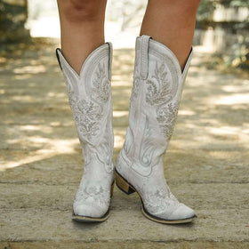 Artificial Leather Knee-High Boots in White with Crystal Decorations