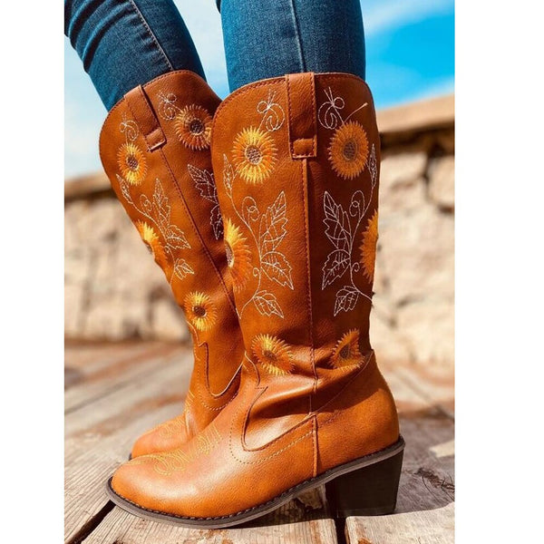 Artificial Leather Mid-Calf Boots in Two Colors with Sunflower Design