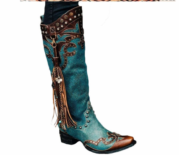 Artificial Leather Knee-High Boots in Blue with Tassel Decoration