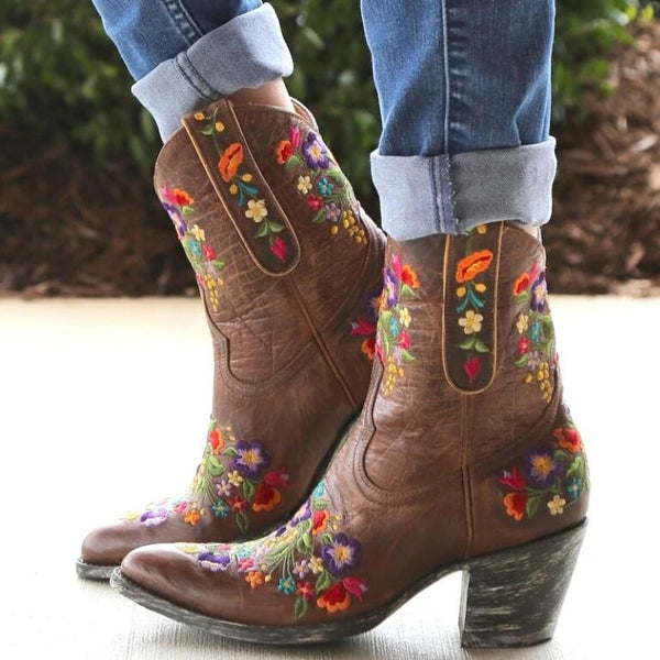 Artificial Leather Mid-Calf Boots with Embroidery In Four Color Combinations