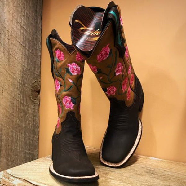 Artificial Leather Winter Boots With Flower Embroidery