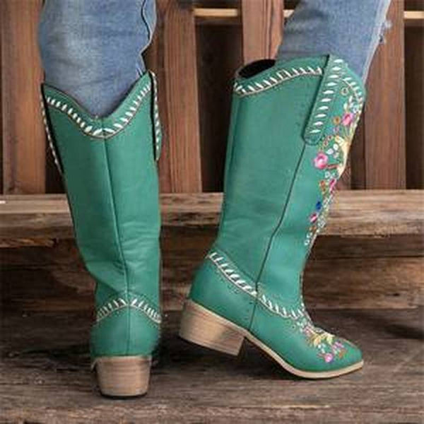Artificial Leather Mid-Calf Boots in Turquoise with Flower Embroidery