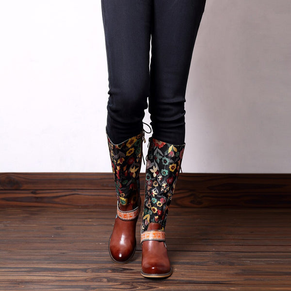 Genuine Leather Knee-High Mid-Heel Boots with Flower Print Embroidery