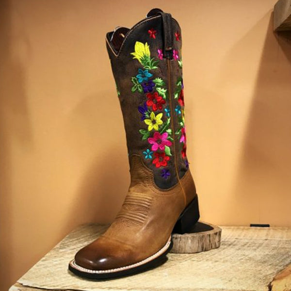 Artificial Leather Mid-Calf Brown Boots with Floral Embroidery