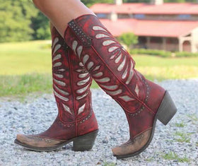 Artificial Leather Mid-Calf Boots in Four Colors with Rivet Decorations