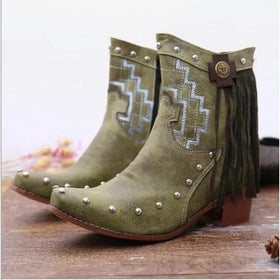 Artificial Leather Ankle Boots with Fringe Decoration