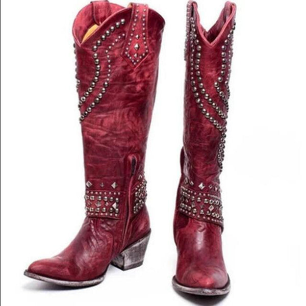 Artificial Leather Knee-High Boots in Four Colors with Metal Decorations