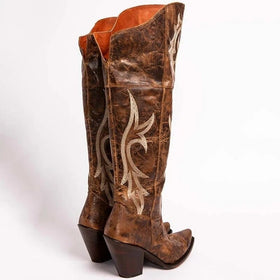 Artificial Leather Knee-High Boots with Embroidery Decoration